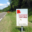 Panneau de communication sur les bords de route à Vétheuil