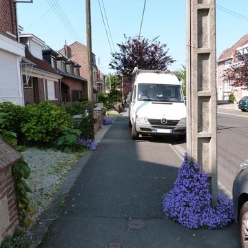 Pied de mobilier urbain fleuri